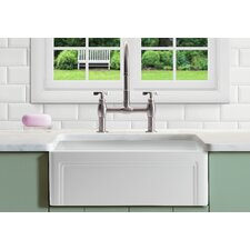 """Olde London Reversible 33"""" x 18"""" Farmhouse Kitchen Sink with Grid"""