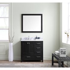 "Stoneham 36"" Single Bathroom Vanity Set with White Marble Top and Mirror"