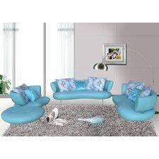 bosco 4 piece modern top grain leather sofa set - Blue Living Room Set