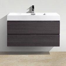 "Tenafly 40"" Single Wall Mount Modern Bathroom Vanity Set"