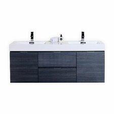 Quick View Black Tenafly 60 Double Wall Mount Modern Bathroom Vanity