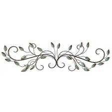 Patina Teal Metal Leaf Scroll Wall Décor