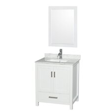 "Sheffield 30"" Single White Bathroom Vanity Set with Mirror"
