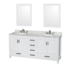 "Sheffield 72"" Double White Bathroom Vanity Set with Mirror"