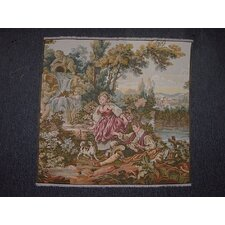 Romantic Couple by Angle Waterfall Woven Tapestry