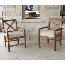 Lamira X-Back Acacia Patio Chair with Cushions (Set of 2)