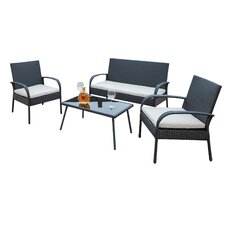 Sachem Wicker 4 Piece Sofa Seating Group with Cushion