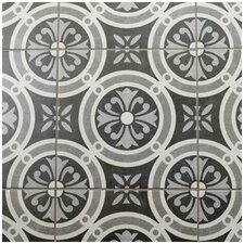"Annata 9.75"" x 9.75"" Porcelain Patterned/Field Tile in White/Dark Gray"