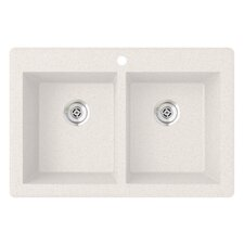 """Equal 33"""" x 22"""" Double Basin Drop-In Kitchen Sink"""