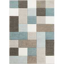 Mott Street Modern Geometric Carved Teal/Brown Area Rug