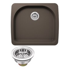 "Quartz 25"" x 22"" Undermount Kitchen Sink with Twist and Lock Strainer"