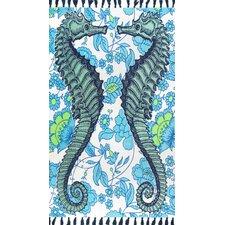 Hand-Woven Seahorse Blue Area Rug