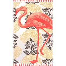 Hand-Woven Flamingo Yellow Area Rug