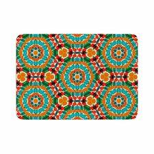 Miranda Mol Hexagon Tiles Orange Pattern Memory Foam Bath Rug