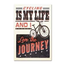 'Bicycle 1' Textual Art on Wrapped Canvas