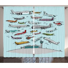 Geoffrey Airplane Decor Graphic Print & Text Semi-Sheer Rod Pocket Curtain Panels (Set of 2)