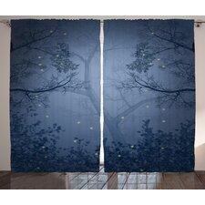 Bitner Girly Graphic Print and Text Semi-Sheer Rod Pocket Curtain Panels (Set of 2)