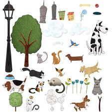 Peel and Stick City Park and Animal Wall Decal