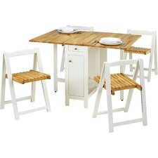 Alfreda Folding Dining Set with 4 Chairs