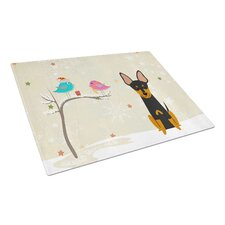 Christmas Presents Glass English Toy Terrier Cutting Board
