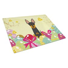 Easter Eggs Glass English Toy Terrier Cutting Board