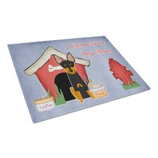 Dog House Glass English Toy Terrier Cutting Board
