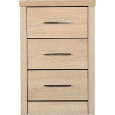 Rossi 3 Drawer Bedside Table