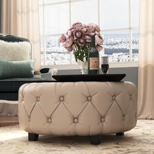 Bowie Leather Tufted Round Ottoman