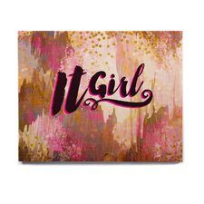 'It Girl-Black And Pink' Graphic Art Print on Wood