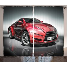 Colligan Car Modern Era Metallic Sports Car Designed for Spirited Performance and High Fast Speed Print In Silver Red by Graphic Print & Text Semi-Sheer Rod Pocket Curtain Panels (Set of 2)
