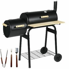 94cm Barrel Built-In Charcoal Barbecue with Smoker and Utensils