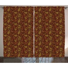 Bottrell Paisley Oriental Damask Ethnic Leaves Middle Age Ottoman Art Inspired Trendy Boho Graphic Print & Text Semi-Sheer Rod Pocket Curtain Panels (Set of 2)
