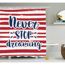 Aberdeen Quotes Never Stop Dreaming Frame Over Stripes Usa Theme office Decor Artsy Design Shower Curtain