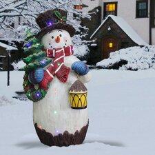 Snowman Holding Tree Christmas Decoration