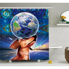 Freda Animal Cute Adorable Dog Holding Earth on His Head Nose With Paisley Like Design Backdrop Shower Curtain