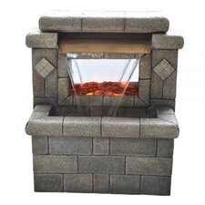 Square Stone Fireplace Resin with LED Light