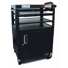 Height Adjustable AV Cart with Security Cabinet