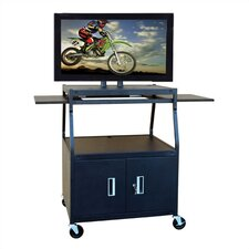 Wide Body Flat Panel AV Cart with Locking Cabinet