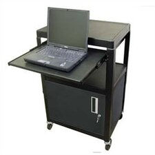 Metal Adjustable AV Cart with Locking Cabinet and Pull Out Shelf