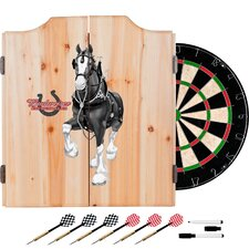 Budweiser Clydesdale Dartboard and Cabinet Set