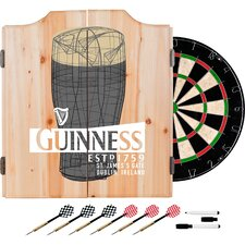 Guinness Line Art Pint Dartboard and Cabinet Set