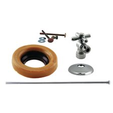 Toilet Kit with Turn Nom Comp Stop and Wax Ring Cross Handle