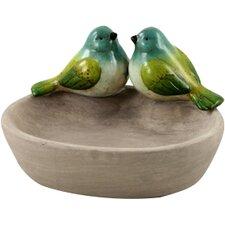 Vogeltränke mit zwei Vögeln