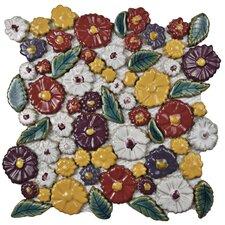 "Floral 11.75"" x 11.75"" Ceramic Mosaic Wall Tile in Perennial"