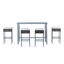 Baremeadow 5 Piece Steel Rattan Wicker Bar Set