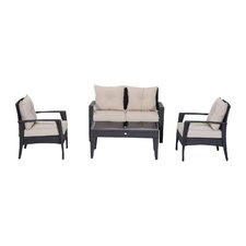 Barkhampstead 4 Piece Outdoor Rattan Wicker Loveseat and Chair Set