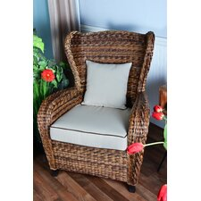Averi Traditional Indoor/Outdoor Rattan Rolled Wingback Chair with Cushion