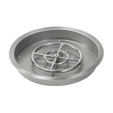 Round Stainless Steel Drop-in Pan with Spark Ignition Natural Gas Fire Pit Kit (Set of 2)