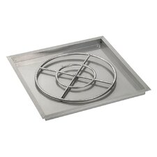 """30"""" High Capacity Square Stainless Steel Drop-in Pan with Match Light Natural Gas Fire Pit Kit (Set of 2)"""