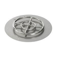 Round Stainless Steel Flat Pan with Spark Ignition Natural Gas Fire Pit Kit (Set of 2)